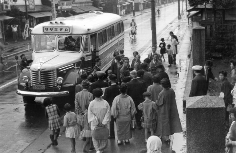 森町町内会熱海旅行出発の朝 1956