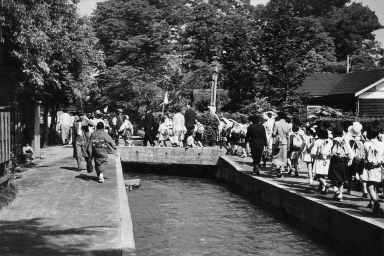 上野動物園校外見学の朝 1956 ‐ 八坂神社裏用水