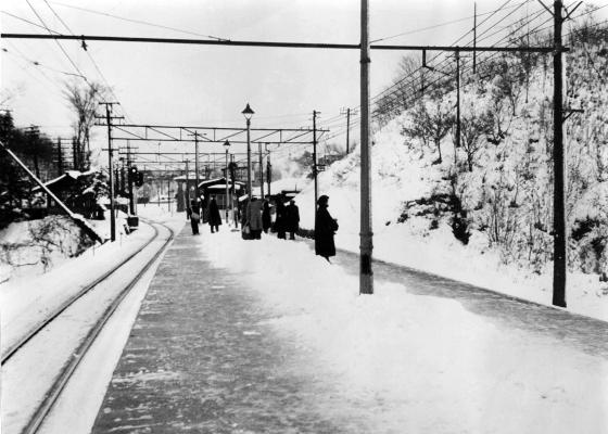 雪の日の日野駅ホーム