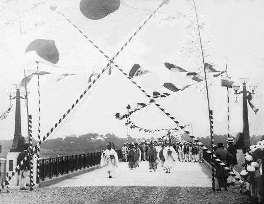 日野橋開通式 1926(1)渡り初め