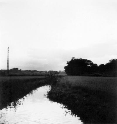 第一日野万生沼和彦宅前辺りより雪印乳業 - 日野警察方面の夕景 1957