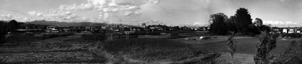 日野駅北線路脇土手上より西側田園地帯を望む 1973