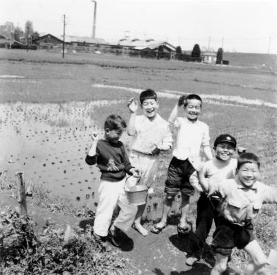 田んぼで遊ぶ子どもたち ‐ 背景に藤野缶詰工場(2)昭和30年代前半