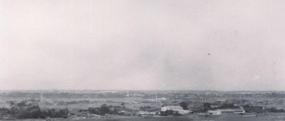 蚕糸試験場・日野橋方面を望む 昭和30年代